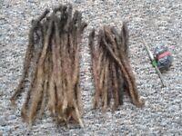 50 real hair dreadlocks extensions dreadhead beads and crochet needles