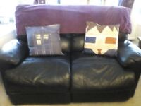 2 seater, recliner, black leather(accessories not Inc)