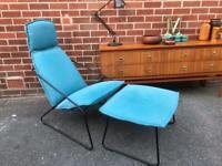 IKEA Villstad Armchair & Footstool Hairpin Frame Vintage Retro Style Blue