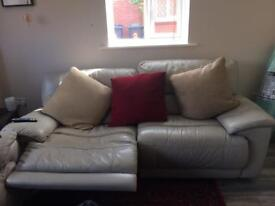 2-3seater manual reclining leather sofas