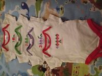4 X Very Hungry Caterpillar Vests 0-3m - White with red, purple, green trim