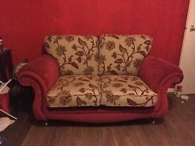 Gorgeous Damask Print Two Seater Sofa - Immaculate Condition
