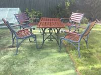 """Patio Table Measurements Height 26"""" (66cm) Width 27""""(69cm) Length 54"""" (137) & 4 Chairs"""
