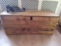 XL Wooden trunk bench/ottoman/storage chest 120cm. Rustic/handcrafted/reclaimed. LOCAL DELIVERY.