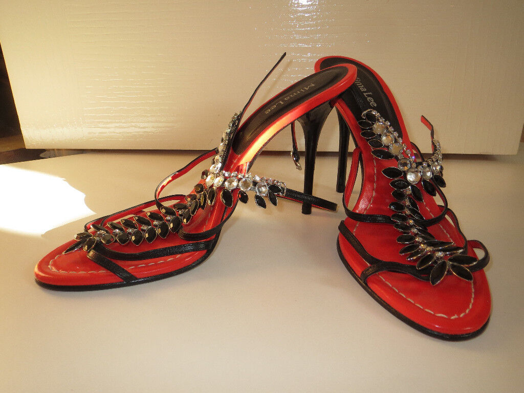 Women's Shoes - Mima Lee Open High Heels/Stilettos - red/black with 'jewels' - size 40