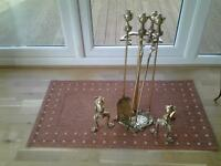 BRASS POKER SET WITH STAND AND FIRE DOGS