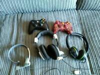 Xbox 360 controller and 2 turtle beach headset