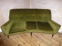 Vintage Mid-Century Curved Green Sofa