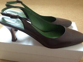 LK Bennet brown 'Safi' sling back kitten heel shoes size 38 UK 5