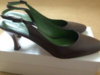 LK Bennet brown 'Safi' sling back kitten heel shoes size 38 UK 5