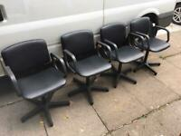 4x vinyl covers swivel chairs for waiting room or salon hairdressers