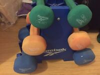 Reebok Dumbbell Set (Incl. original stand) & Chin Up Bar