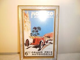 FRAMED 1934 MONACO GRAND PRIX PRINT.