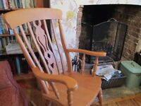 Large beech rocking chair