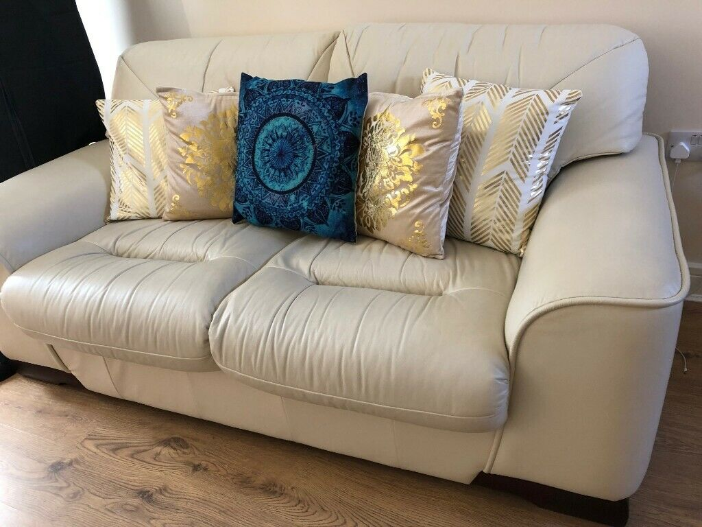 Leather Sofa With 3 Cushions In Addlestone Surrey Gumtree