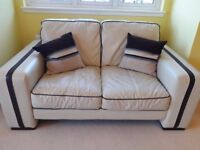 2+3 Seater Real Leather Sofas With Pouffe