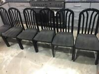 6 dinning chairs in black solid wood grey set material mint!!!!