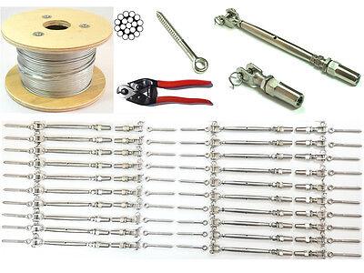 "1/8 Cable Railing 316 Stainless Steel Kit 36"",1/8 1*19 500Ft+Full Kit For Wood"