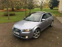 Audi A3 S Line Quattro 3.2+ Panoramic roof 120k+FSH+Hpi Clear £3590