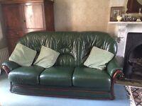Dark Green high backed sofa 3/4 seater