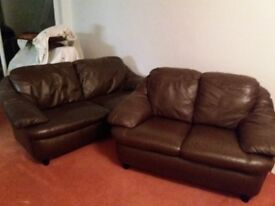 SOLD!!! Three & Two Seater Chocolate brown leather sofas - £100