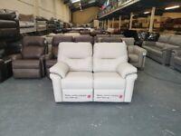 Ex-display G Plan Washington cream leather manual recliner 2 seater sofa