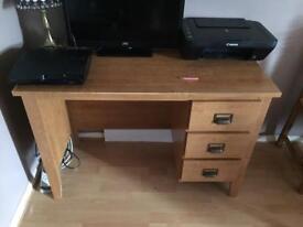 Oak effect computer/dressing table desk