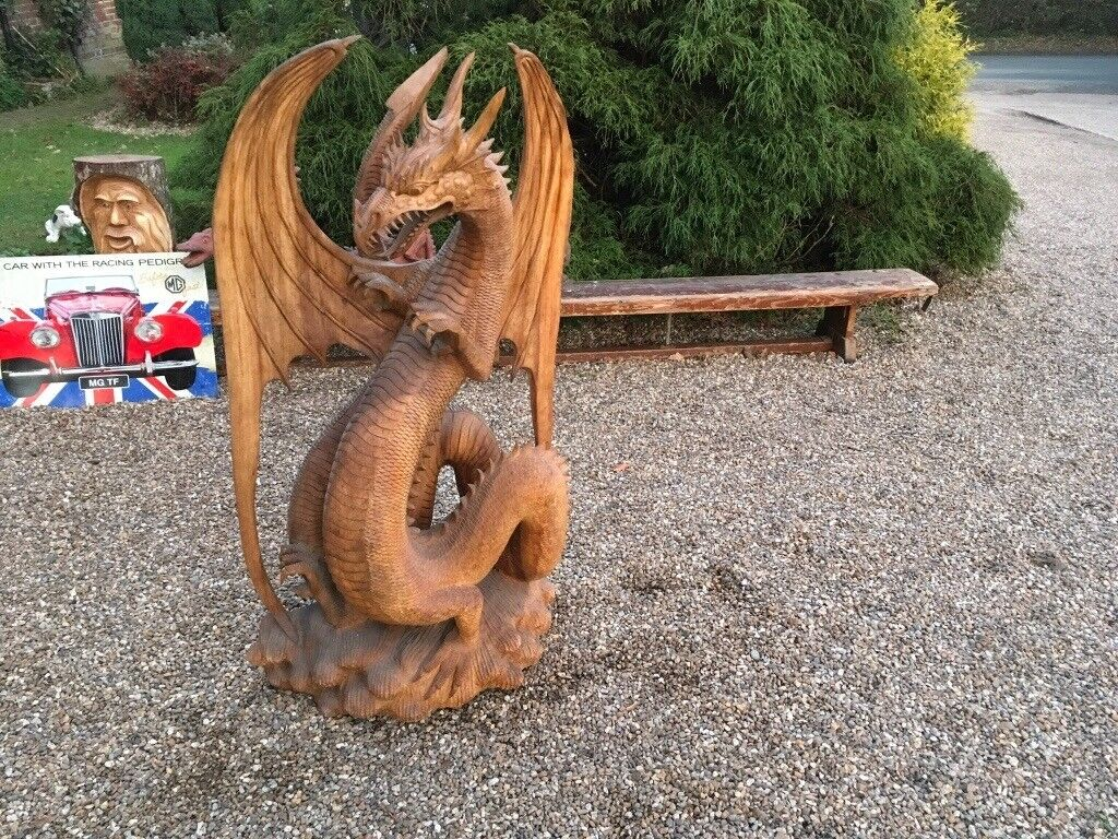 Wooden Hand Carved Dragon