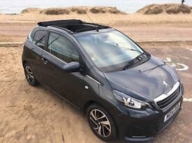 Peugeot 108 1.0 Active 3dr soft top with upgraded black interior, tinted windows and alloys.