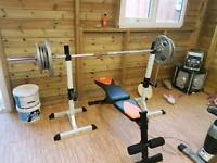Olympic weights and bench (squat stand)