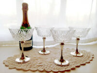 4 Vintage Champagne Glasses
