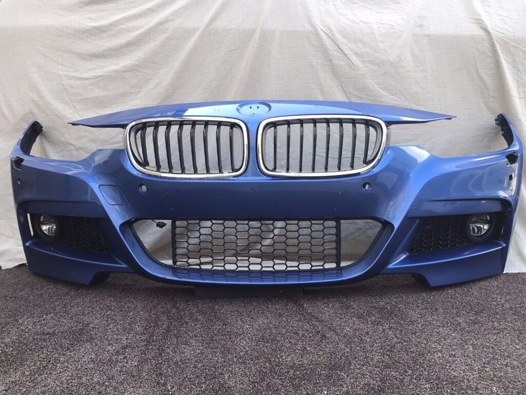 2015 BMW 3 SERIES F30 F31 M SPORT - COMPLETE FRONT BUMPER - BLUE PDC LED FOGS