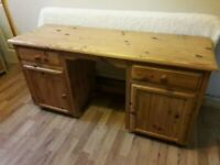 Double Pedestal Pine Desk / Dressing Table