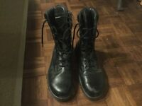 Black high leg 8 hole steel toe cap safety patrol work boot