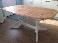 Pine shabby chic farmhouse kitchen table
