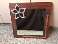 Unique Handmade Wooden Framed Mirror with Rose Gold Flower detailing