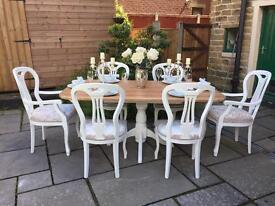 Dining Table & 6 Cream Upholstered Chairs ~ Farmhouse Shabby Chic