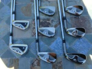 SET COMBO TAYLOR MADE TP: FERS 3 ET 4 R9 TP, FERS 5, 6, 7, 8, 9, PITCH, GAP & SANDWEDGE TP FORGED, DROITIER, ACIER STIFF
