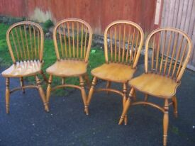 Set of Four Stick Back Windsor Chairs.