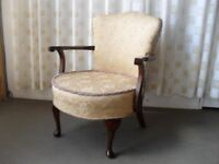 VINTAGE MAHOAGNY FRAMED BEDROOM CHAIR FREE DELIVERY