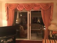 """Pair of pink curtains (111""""x 88"""" & 90""""x 62"""") with swags and tails"""