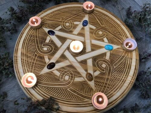 Witchcraft altar tile and table, occult practices, witch divination or pendulum