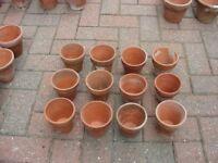 "12 x Weathered 4"" Terracotta Clay Flower Pots Pottery Plant Pot H 10cm x W 10cm"