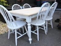 REDUCED - 5ft Shabby Chic Oak Table and 6 Chairs
