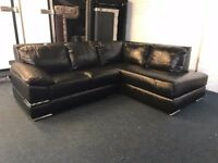 LITTLEWOODS PRIMO BLACK REAL ITALIAN LEATHER CORNER SOFA CHAISE OPEN END L SHAPE LEFT RIGHT