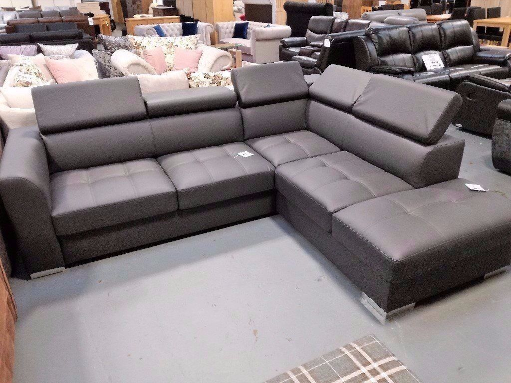 Brand New Grey Leather Corner Sofa Bed With Storage. Right