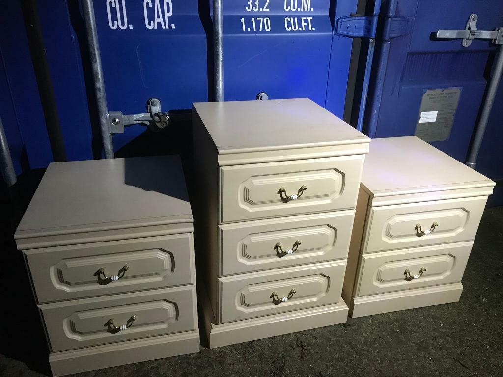 Pair bedsides and small 3 drawer chest with FREE DELIVERY PLYMOUTH AREA