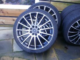"17"" MULTI FIT ALLOYS WITH GOOD LOW PROFILE TYRES . PRICED TO SELL , ONLY £175 . COST 600 NEW"