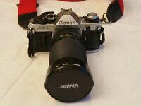 Canon AE1 Program film Camera with Vivitar 28-210 lens + Flash