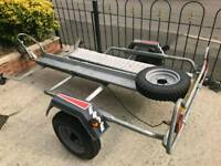 Erde galvanised motorbike trailer with heavy duty ramp and brand new spare wheel